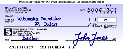 Cheque for Pi $