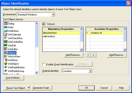 object identification dialog